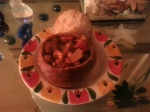 veggie chili in bread bowl